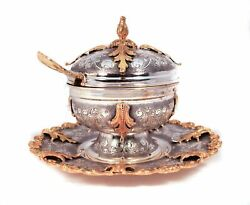 925 Sterling Silver/gold Handmade Chased Honey Dish With Glass Insert And Tray