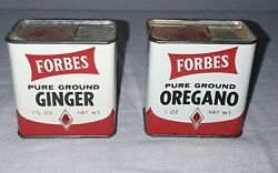 Vintage Forbes Ground Ginger And Oregano Spice Tin Lot Of 2 Woolson Toledo Ohio