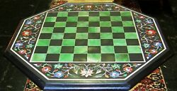 Chess Table Top With Unique Design Marble Coffee Table Semi Precious Stone Inlay