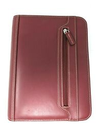 Franklin Covey Red Leather Classic Zipper Day Planner Organizer Credit Card Slot