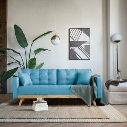 Mid Century Modern Sofa Tufted Couch with 4 Accent Pillows Sky Blue