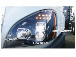 For 08-17 2008-2017 Cascadia Head Lamp Led Projector Pair Passenger Rh Driver Lh