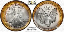 1991 Silver American Eagle Pcgs Ms68 Neon Yellow Target Toning