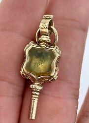 Antique 9kt Gold Wax Seal Intaglio Watch Key Fob For Pocket Watches Or Pendant