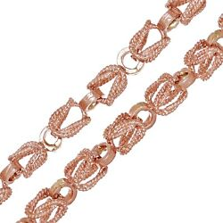 Menand039s 10k Rose Gold Turkish Link Chain Necklace 28 5mm 45.3 Grams