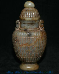 7.4 Antique China Natural Hetian Jade Hand-carved Palace Wine Bottle Kettle