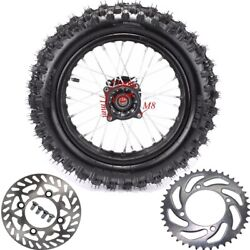 80/100-12 3.0-12 Rear Wheel Rim Tire Pit Bike Crf/xr50 Crf70 Pw80 +disc+sprocket