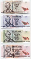 Transnistria Set 1 To 25 Rublei 2015 Pick 54-57 Unc Uncirculated Notes 25th