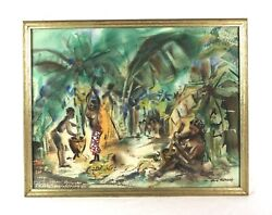 Vintage Mid Century Modern Painting African Tribal Scene Signed Listed Artist
