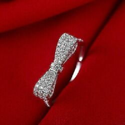 1.30ct Round Cut Vvs1/d Diamond Bow Wedding Womanand039s Ring 14k Solid White Gold