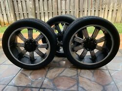 Car Tires And Rims, Black Tires With 8 Plugs. Used Good Quality
