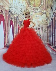 Eaki Handmade Red Evening Dress Outfit Gown Silkstone Barbie Fashion Royalty FR $29.99