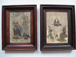 Antique Rare Pair Of Beautiful Mounted And Framed Hand Painted Tile Signed