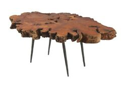 42 L Modern Coffee Table One Of A Kind Freeform Burled Wood Forged Metal Legs
