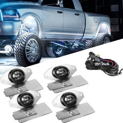 White Led Rock Light 4pods Courtesy Lamp W/wiring Andsilicone Brackets Offroad Atv