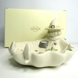 Lenox Occasions Halloween Witch Candy Dish Bowl Fall Leaves Ivory Porcelain