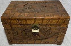 Vintage 14x9x9 Locked Hand Carved Camphor Wooden Box Hope Chest Trunk Mountains
