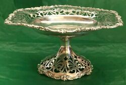 Fancy Vintage Ornate Sterling Silver Footed Compote With Reticulation