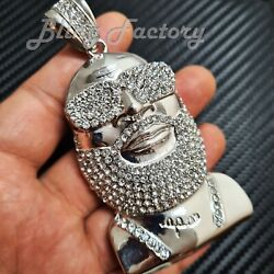 Iced Hip Hop Lab Diamond White Gold Plated Large Rick Ross Bling Charm Pendant