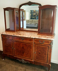 French Buffet 1880s Antique Lead Glass Granite Counter Top Antique Buffet