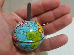 Rare Small Vintage 50s' Tin Toy Antique Japan Globe Dreidel Signed Spinning Top