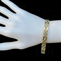 Italian 18ct 18k 750 Gold Solid Panther Link Bracelet With Concealed Clasp