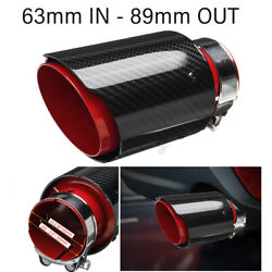 2.5 63mm-89mm Red Glossy Carbon Fiber Exhaust Tips Universal Car Exhaust Pipe