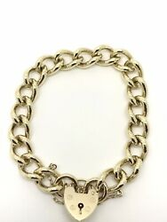 9ct Yellow Gold Traditional Charm Bracelet - Padlock - 7 Long - Solid - 46.76g