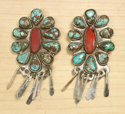 Oscar Betz Sterling Silver Turquoise And Coral Stud Dangle Earrings Dgid X864a