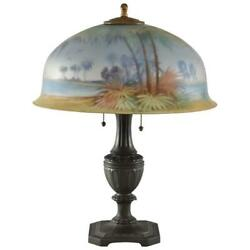 Antique Pairpoint Reverse Painted Lamp Palm Trees Tropical Scene Scene Signed