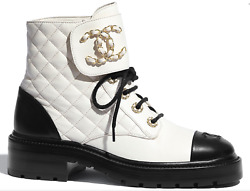 20a Black White Quilted Gold Cc Chain Combat Lace Ankle Short Boots 38.5