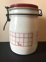 Vintage Wheaton Milk Glass Kitchen Storage Red And White Tea Canister Bail Lid 6