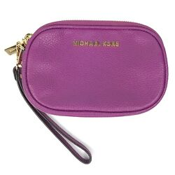 Michael Kors Purple Pebbled Leather Rounded Small Wristlet Zip Pouch $34.99