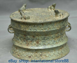 8.8 Antique Chinese Bronze Ware Dynasty Place Frog Beast People Drum