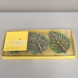 Leaf Shaped Green Floating Candle Set New In Box Modern Home Decor