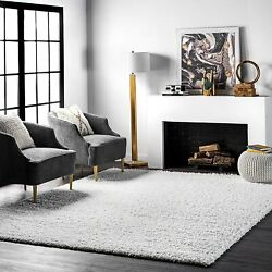 Nuloom Cozy Soft And Plush Diamond Solid Shag Area Rug 5and039 3 X 7and039 6 White