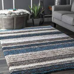 Nuloom Classie Hand Tufted Shag Area Rug 4and039 X 6and039 Blue Multi