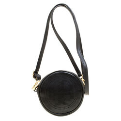 Tory Burch Perforated Logo Round Leather Crossbody Black $115.00