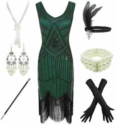 Womenand039s 1920and039s Gatsby Green Sequin Flapper Dress And Accessories Size L