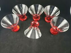 Red Crate And Barrel Dizzy Cocktail Glass Martini Glasses Set Of 6