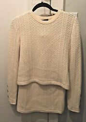 Ladies Two Piece Cashmere Cream Sweater And Skirt Sw Size M Us 8 Fr40