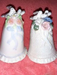 Ks Collection Figurines Two Ceramic Bell With Two Doves Wedding Cake Toppers