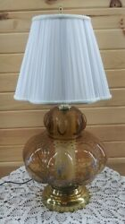 Vintage Table Lamp With Night Light Flower Print Ornate Tinted Smoke Amber Glass