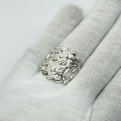 Solid 18k White Gold Mens Nugget Ring Large Diamond Cut Xxl Heavy Size 5 - 15