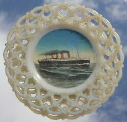 Cunard Line Rms Lusitania Glass Ribband Plate As Purchased Onboard Barbers Shop