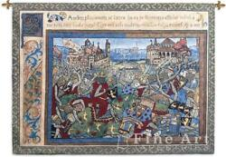 Epic Large Tapestry Wall Hanging Medieval Battle Picture Of Knights 69quot; x 52quot;