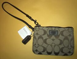 Authentic Coach Strap Wristlet Canvas amp; Leather New With Tags $28.00