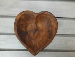 Carved Heart Wooden Bowl Dough Rustic Bowl Candy Dish Wood Bowl Halloween