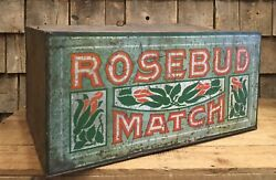 Large Early Vintage Country Store Rosebud Match Counter Top Display Tin Box