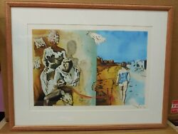 Rare Salvador Dali Color Lithograph Hand Signed Double Face With Certificate